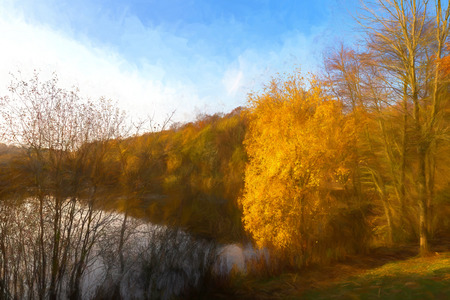 Digital watercolour of autumnal tree colours at Deep Hayes Country Park in Staffordshire