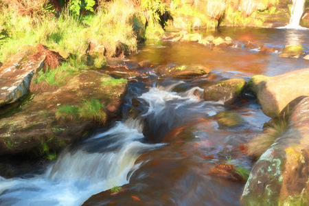 Digital watercolour of cascading water at Three Shires Head in the Peak District National Park.