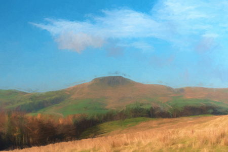 Digital watercolour of the view to a distant Shutlingsloe hill in Cheshire, Peak District National Park.