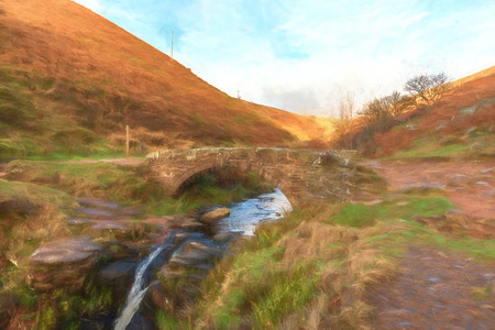 Digital watercolour of a waterfall and packhorse stone bridge at Three Shires Head in the Peak District National Park. Banque d'images
