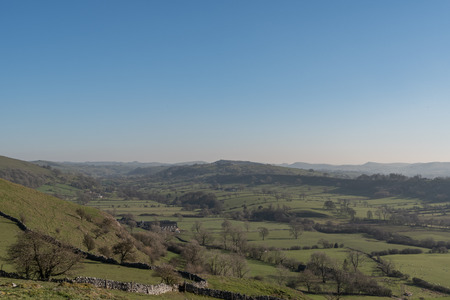View of the Dove valley from Hitter Hill in the Peak District National Park.