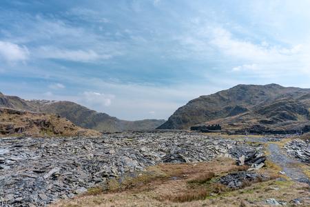 The abandoned Cwmorthin Terrace and Rhosydd Slate Quarry at Blaenau Ffestiniog in Gwynedd, Wales Stock Photo