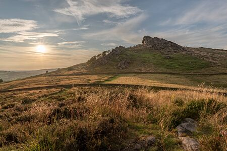 Panoramic view of The Roaches just before sunset in the Peak District National Park. Banco de Imagens