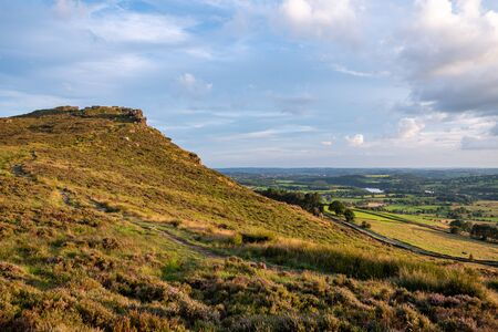 Panoramic view of Hen Cloud and The Roaches just before sunset in the Peak District National Park.