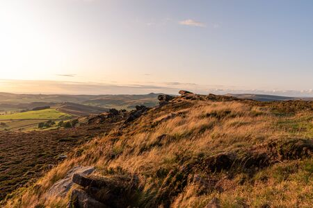 The trigonometry point on top of The Roaches at sunset in the Peak District National Park. 스톡 콘텐츠 - 132786632