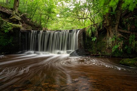 Long exposure of a small waterfall at Kynpersley Reservoir in a secluded glen. Lush vibrant emerald green trees, leaves and ferns, with moss covered rocks. 스톡 콘텐츠