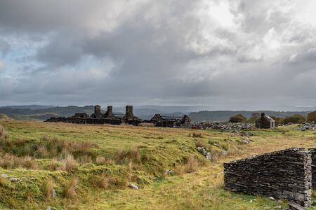 The abandoned Rhos Slate Quarry at Capel Curig, below Moel Siabod in the Snowdonia National Park, Wales 스톡 콘텐츠 - 132786725