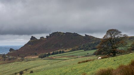 Panoramic view of a moody Ramshaw Rocks and grey sky at The Roaches in the Peak District National Park. 스톡 콘텐츠 - 132481149