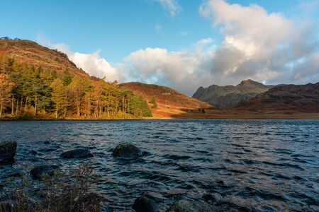 Beautiful and moody morning fall light at Blea Tarn in the English Lake District with views of the Langdale Pikes, and Side Pike during autumn. 스톡 콘텐츠 - 133052283