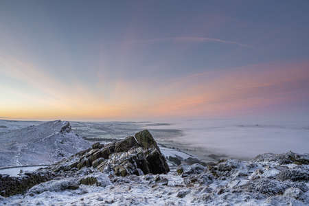 Temperature inversion at The Roaches at sunrise during winter in the Peak District National Park.