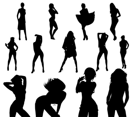 sexes: sexy girl black silhouette set vector on white