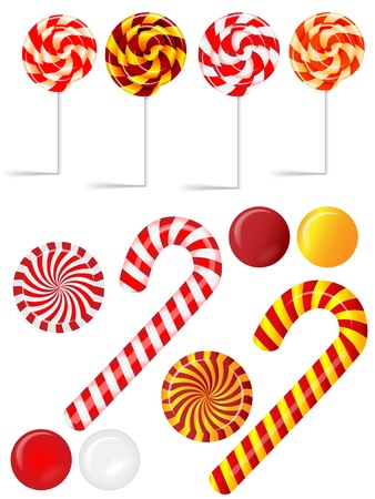 Vector set with different red and white candies Ilustração