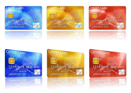 Vector credit card. Blue, red, yellow Vector