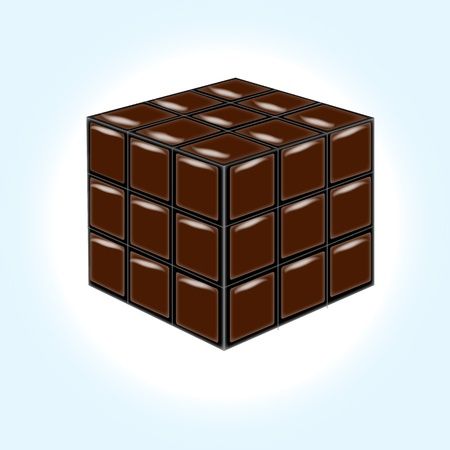 Chocolate cube on white background photo