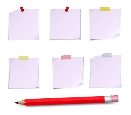 pensil: Adhesive Notes with pin, scotch and pensil isolated on white Illustration