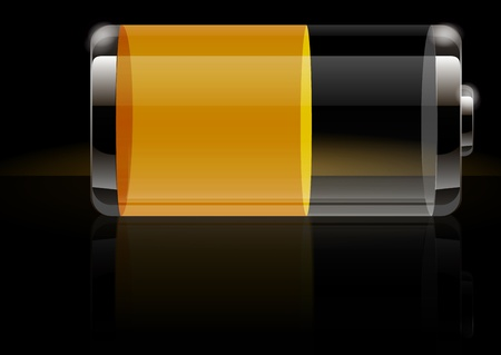 battery charger: Glossy transparent battery icon yellow Illustration
