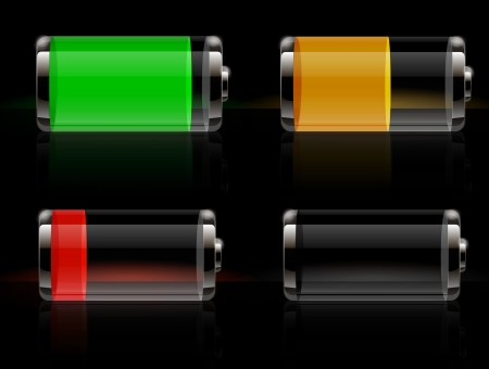 battery charger: Glossy transparent battery icons Illustration
