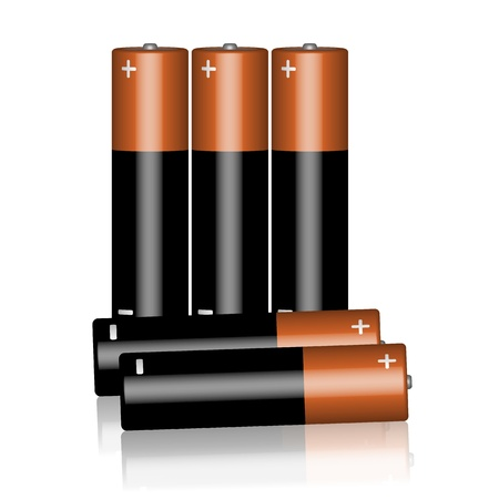 alkaline: Five batteries on a white background.  Illustration