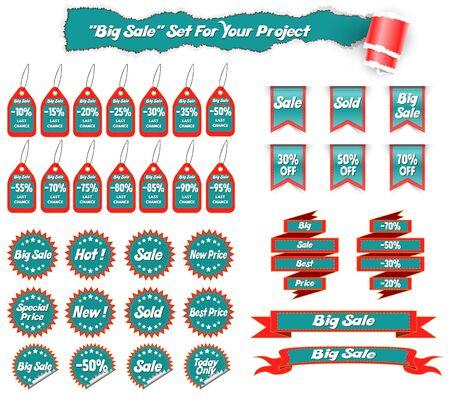 Big Collection Sale Stickers And Web Ribbons Set.  Vector