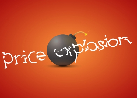 bomb price: Illustration of black bomb with sale sign Illustration