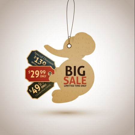 Vintage style sale tags design elephant Vector