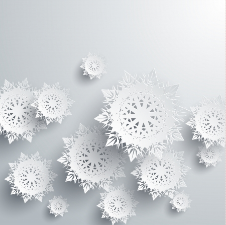 Paper snowflakes for winter background Illustration