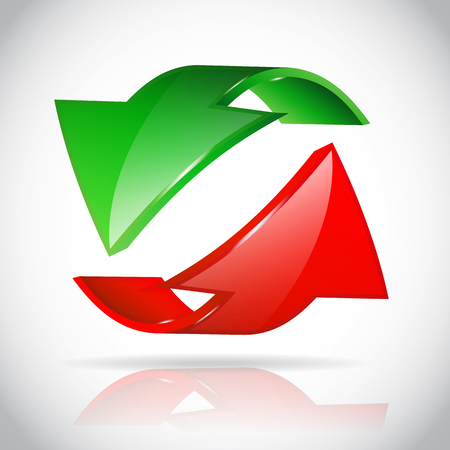 Arrow circle eco green and red