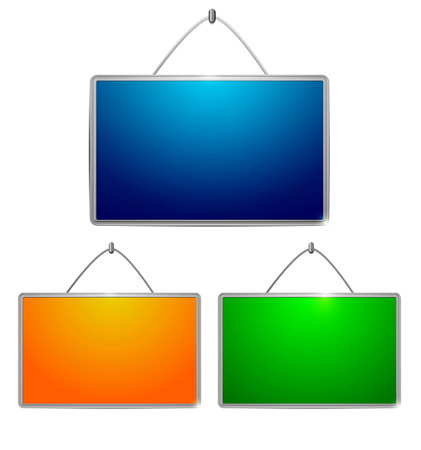 Colored tables hanging on a wall