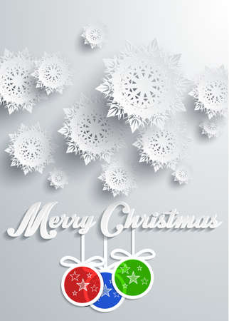 Paper snowflakes Merry Christmas text with balls Vector