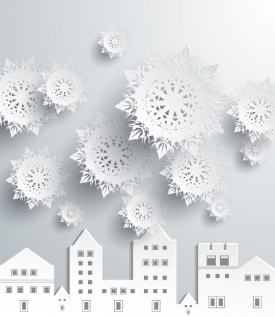 Paper snowflakes and town Vector