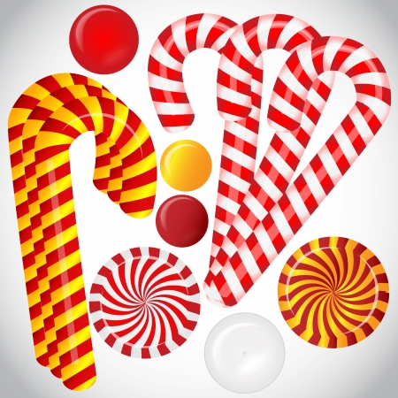 Vector set with different red and white candies Stock Vector - 23124382