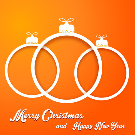 Christmas paper cut balls with text on orange backgraund Vector