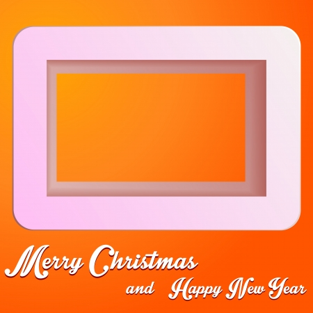 Christmas paper cut square with text on orange backgraund Vector