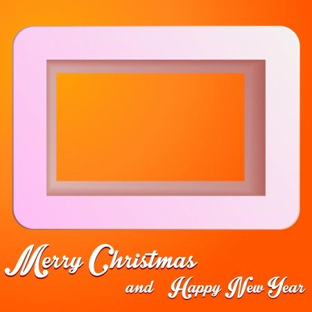 orange cut: Papel de Navidad cortado perpendicularmente con el texto en color naranja justificativa