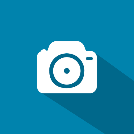camera phone: Flat icons for web and mobile applications. Camera icon. Long shadow design
