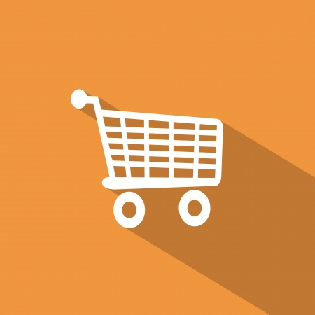 Flat icons for Web and Mobile applications. Shoping cart icon. Long shadow design Vector