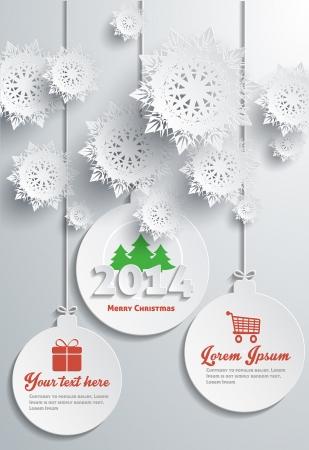 merry christmas text: Copos de nieve de papel Feliz Navidad de texto con bolas Vectores