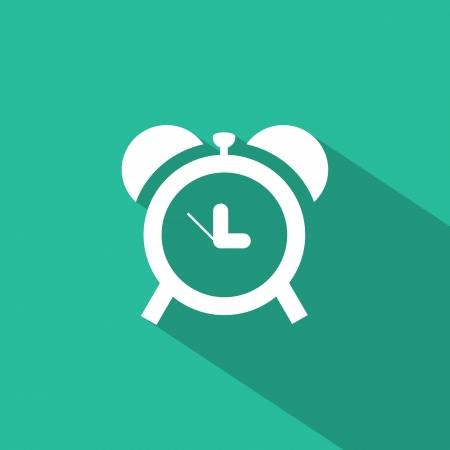 Flat icons for web and mobile applications. Clock icon. Long shadow design Vector
