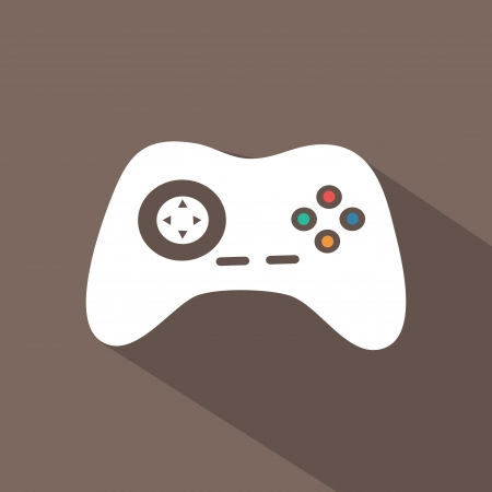 joystick: Flat icons for web and mobile applications. Game icon. Long shadow design
