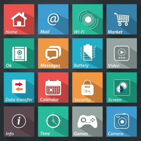 Flat icons for web and mobile applications set 3 Vector