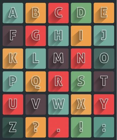 alfabet: Flat alfabet with long shadow