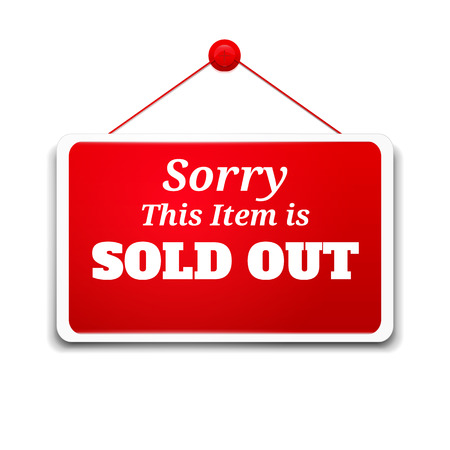 sold out: Shopping sign board sorry this item is sold out Illustration