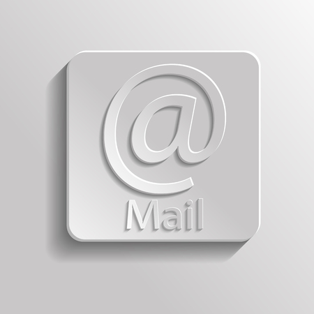 Icon gray mail with shadow Vector