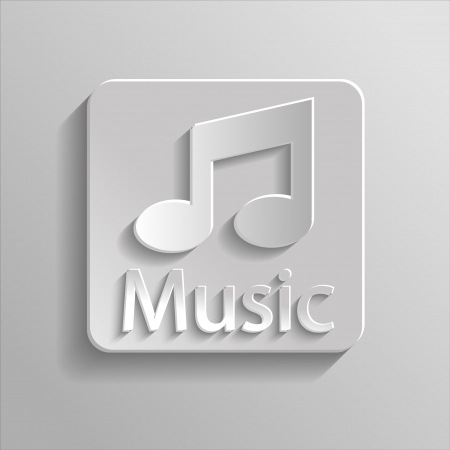 Icon gray music with shadow Vector