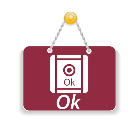 Shopping sign board with icon ok Vector