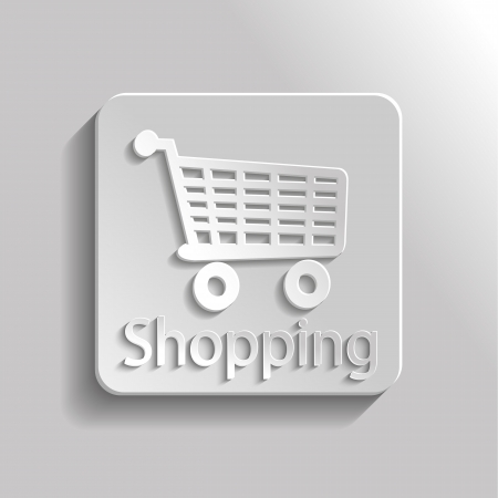 Icon gray shopping with shadow Vector