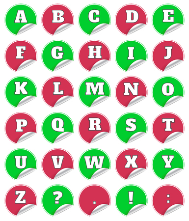 alfabet: Alphabet on red note stickers