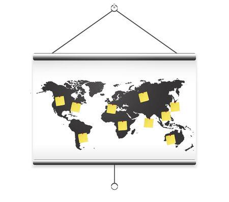 projector screen: Proiettore mappa del mondo e nota schermo Vettoriali