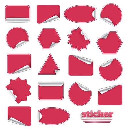 sticky paper: Red Blank Sticky Paper Set Isolated on White Background