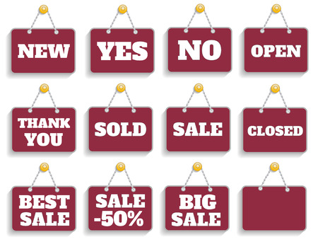 Shopping sign board set Vector